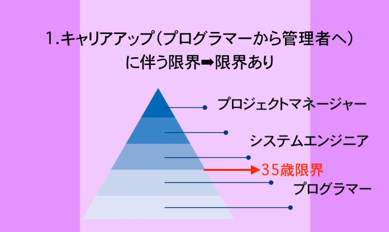 1.キャリアアップ(プログラマーから管理者へ)に伴う限界