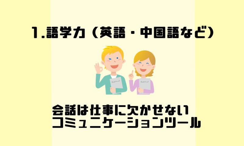 1.語学力(英語・中国語など)