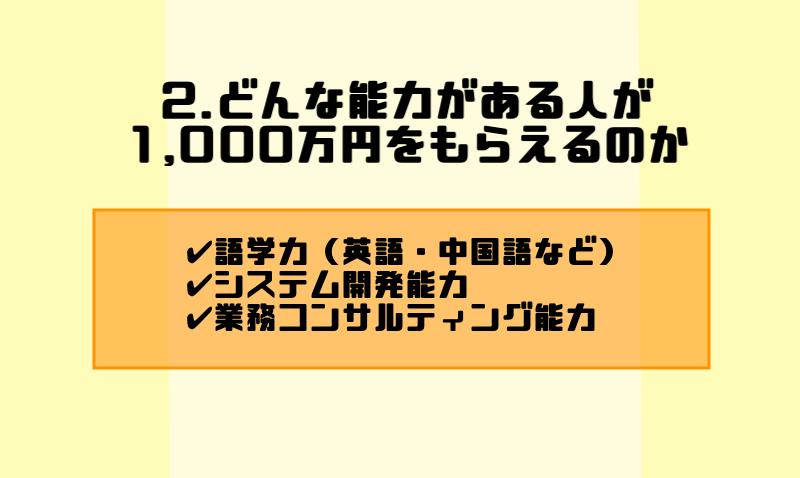 2.どんな能力がある人が1,000万円をもらえるのか
