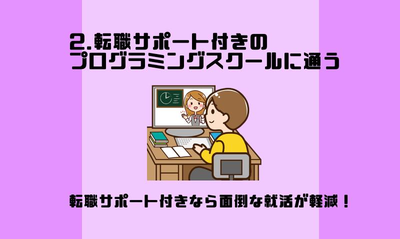2.転職サポート付きのプログラミングスクールに通う