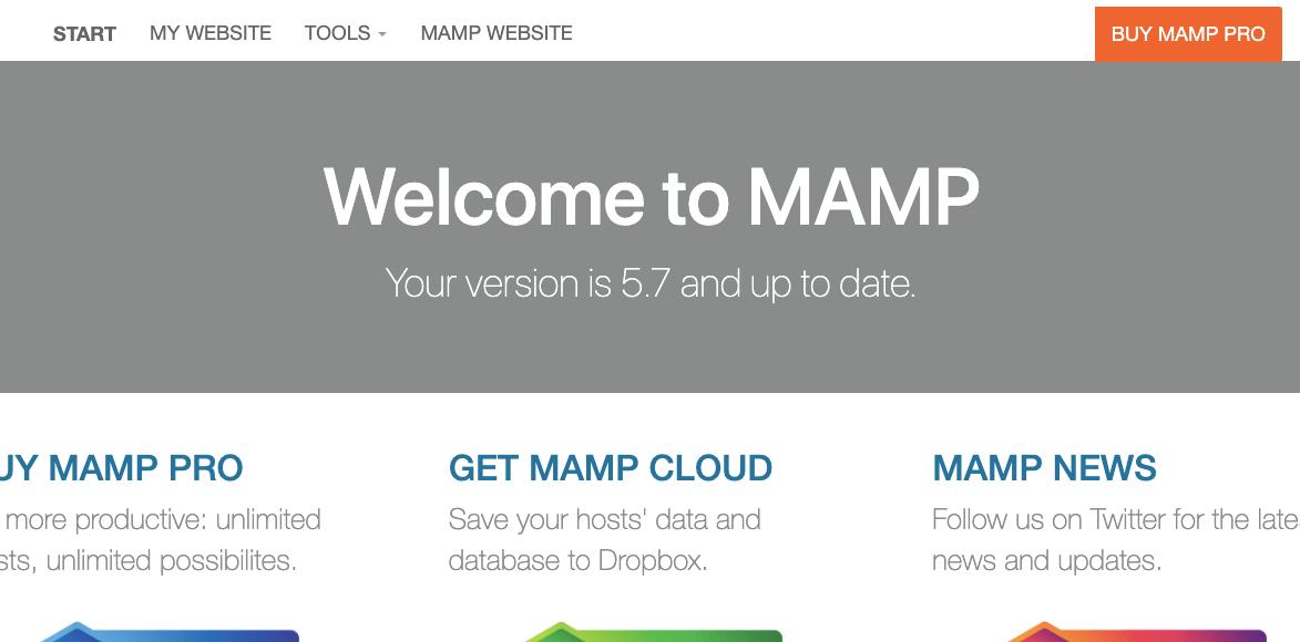 MAMP管理画面